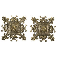 Brass Wall Plaques with Intertwined Sea Serpents and Fleur De Lys