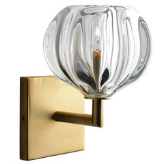 Brass Wall Sconce • Handblown Urchin Glass by Siemon & Salazar • Made to Order