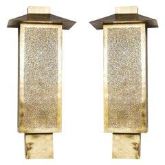 Art Deci Brass Wall Sconces or Lanterns, a Pair