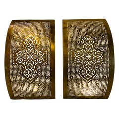Moroccan Wall Sconce or Lantern in Gold Brass, a Pair