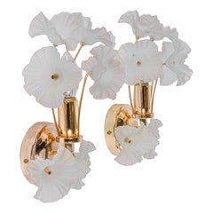 Brass Wall Sconces with Glass Flowers, Germany, 1970s