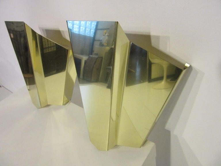 Modern Brass Wall Scones in the Style of Curtis Jere For Sale