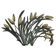 Brass Wall Sculpture Wheat Plant, Corn Stalk, 1960s