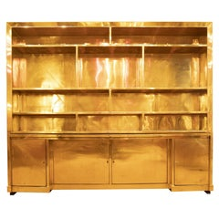 Brass wall sideboard / bookcase, Made in Italy 1990's, Italian manufacturer