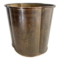 Brass Waste Can with Heron Bird Motif