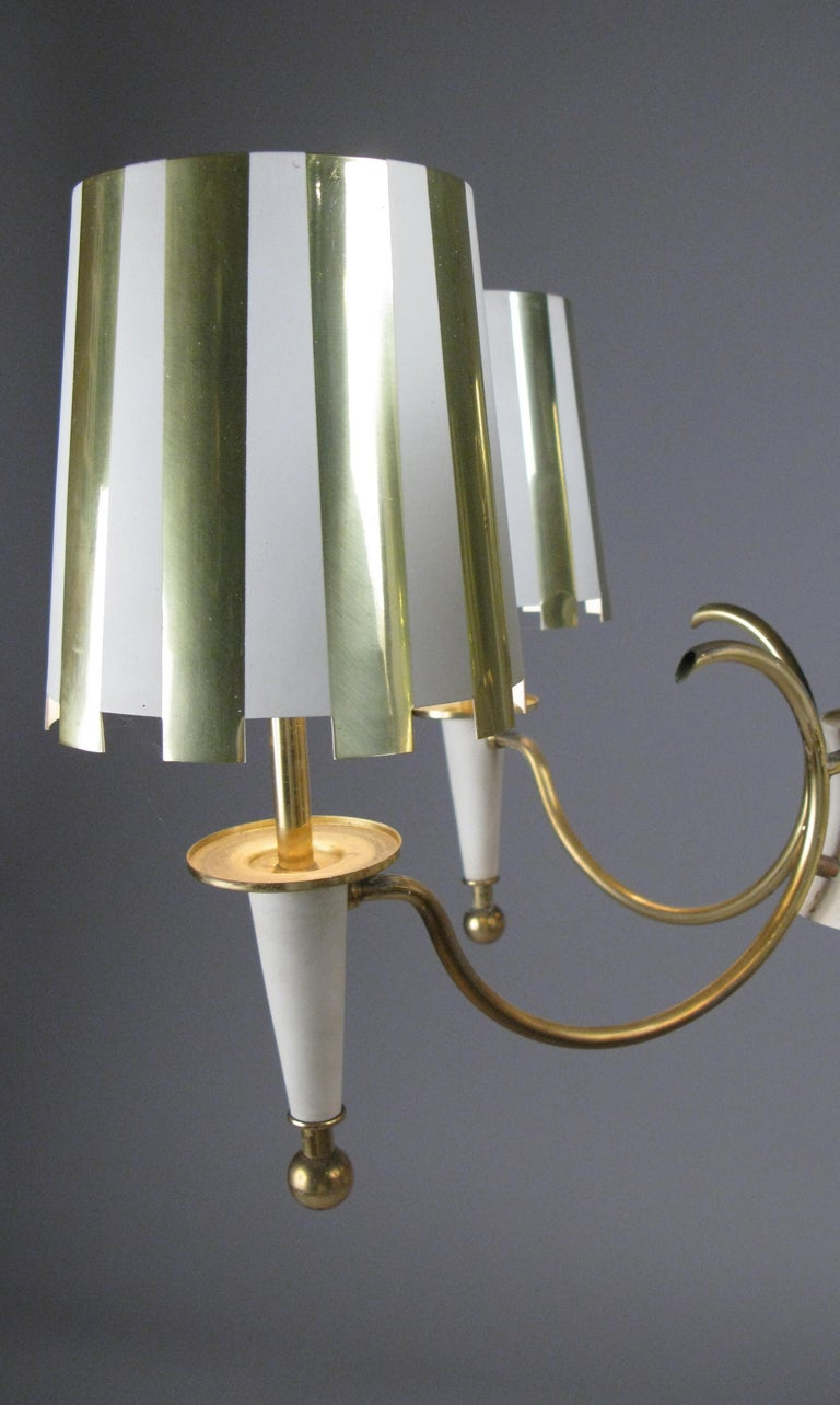 Brass and White Lacquer Five-Light Chandelier In Good Condition For Sale In Hudson, NY