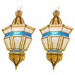 Brass, White Milk and Blue Glass Moroccan Lantern, Chandelier, Pendant, Pair