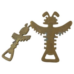 Brass Winged Bird Spirit Totem Pole Beer Bottle Opener Midcentury Cocktail Bar