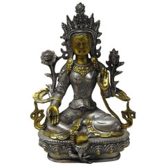 Brass with Silver Overlay Tara Goddess of Peace Sand Protection Statue