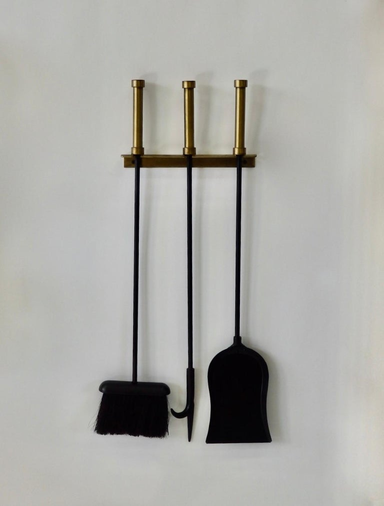 Brass with Wrought Iron Wall Hanging Fireplace Tools In Good Condition For Sale In Ferndale, MI