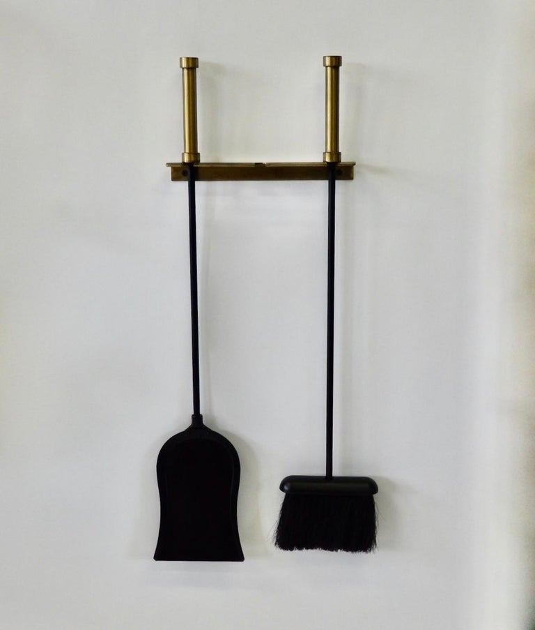 20th Century Brass with Wrought Iron Wall Hanging Fireplace Tools For Sale