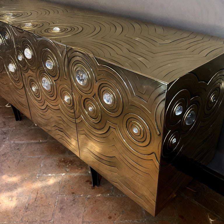 Brass, Wood & Black Steel Roepa Sideboard with Inlaid Rock Crystals, Atelier EB For Sale 6