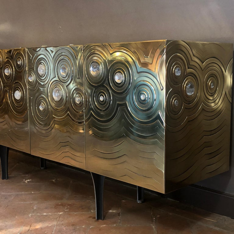 Brass, Wood & Black Steel Roepa Sideboard with Inlaid Rock Crystals, Atelier EB For Sale 7