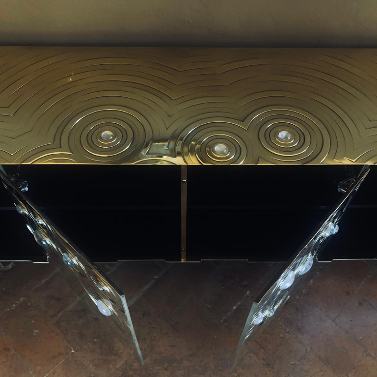 Brass, Wood & Black Steel Roepa Sideboard with Inlaid Rock Crystals, Atelier EB For Sale 8