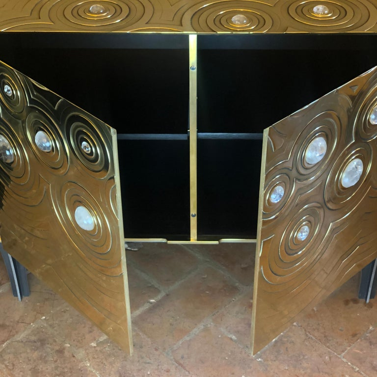 Brass, Wood & Black Steel Roepa Sideboard with Inlaid Rock Crystals, Atelier EB For Sale 9