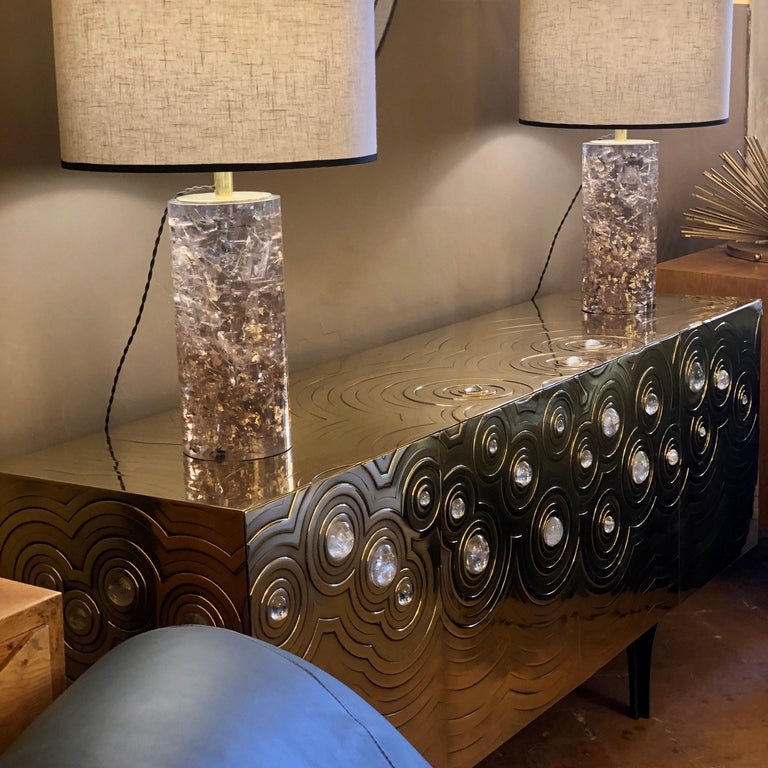 Brass, Wood & Black Steel Roepa Sideboard with Inlaid Rock Crystals, Atelier EB For Sale 13
