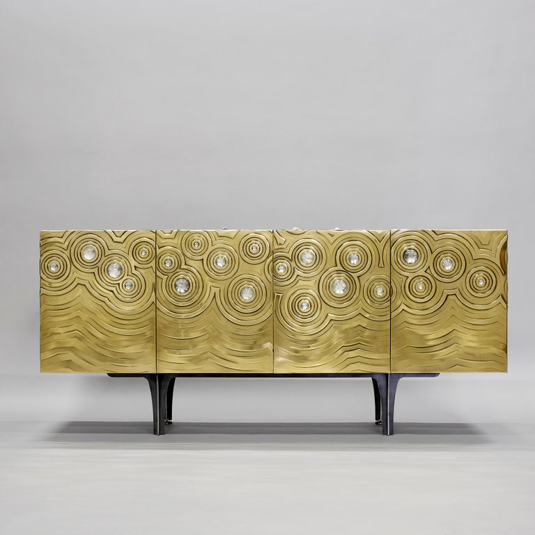 Modern Brass, Wood & Black Steel Roepa Sideboard with Inlaid Rock Crystals, Atelier EB For Sale