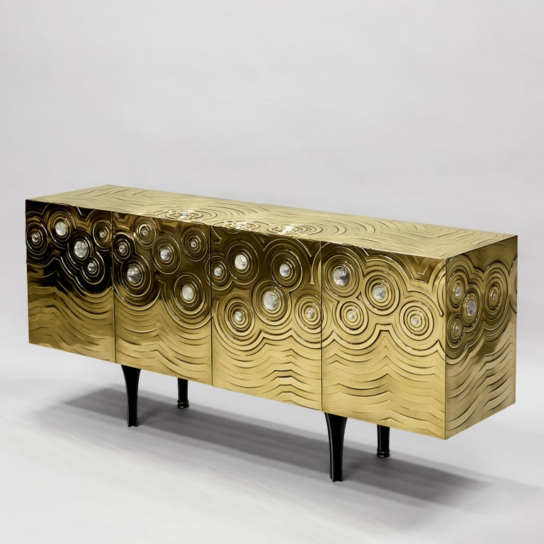 Brass, Wood & Black Steel Roepa Sideboard with Inlaid Rock Crystals, Atelier EB In Excellent Condition For Sale In Firenze, Tuscany