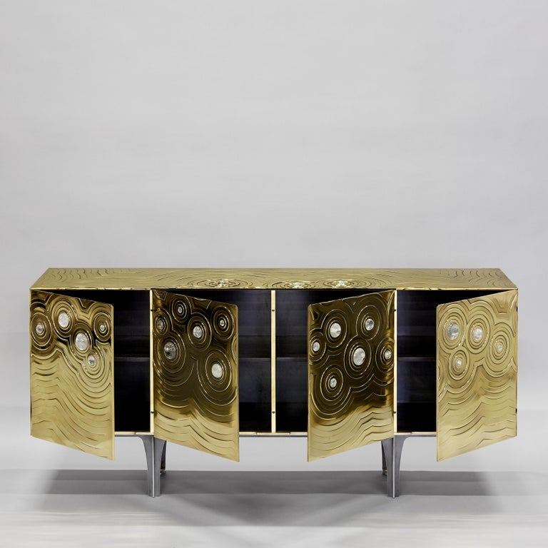 Contemporary Brass, Wood & Black Steel Roepa Sideboard with Inlaid Rock Crystals, Atelier EB For Sale