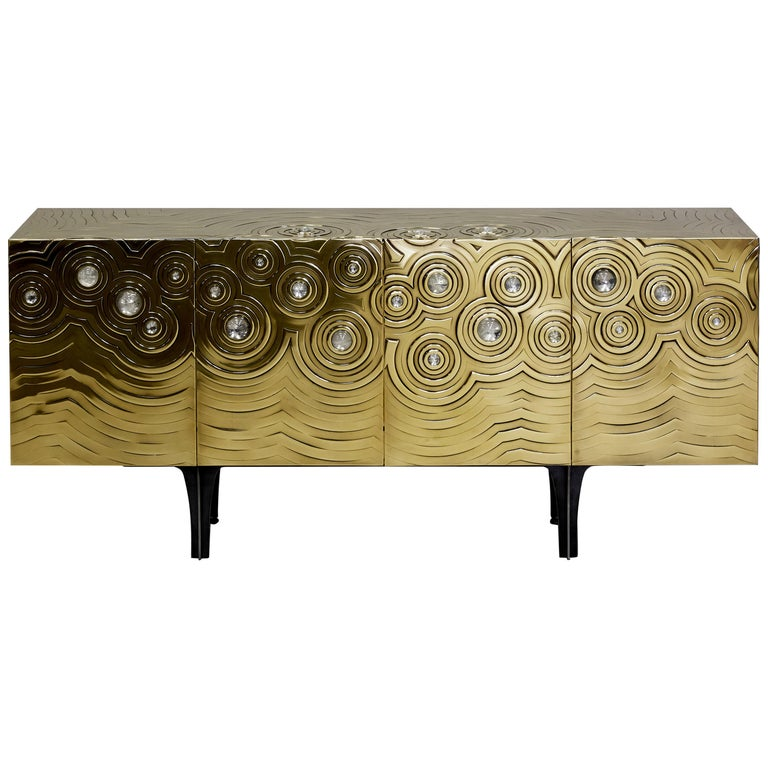 Brass, Wood & Black Steel Roepa Sideboard with Inlaid Rock Crystals, Atelier EB For Sale