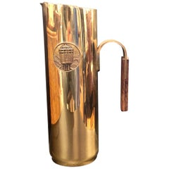 Brass & Wood Italian Water Pitcher Midcentury