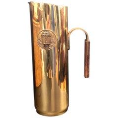 Brass & Wood Italian Water Pitcher Midcentury