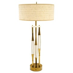 Brass & Wood Table Lamp by Stewart Ross James, White, Black Lines Original Shade