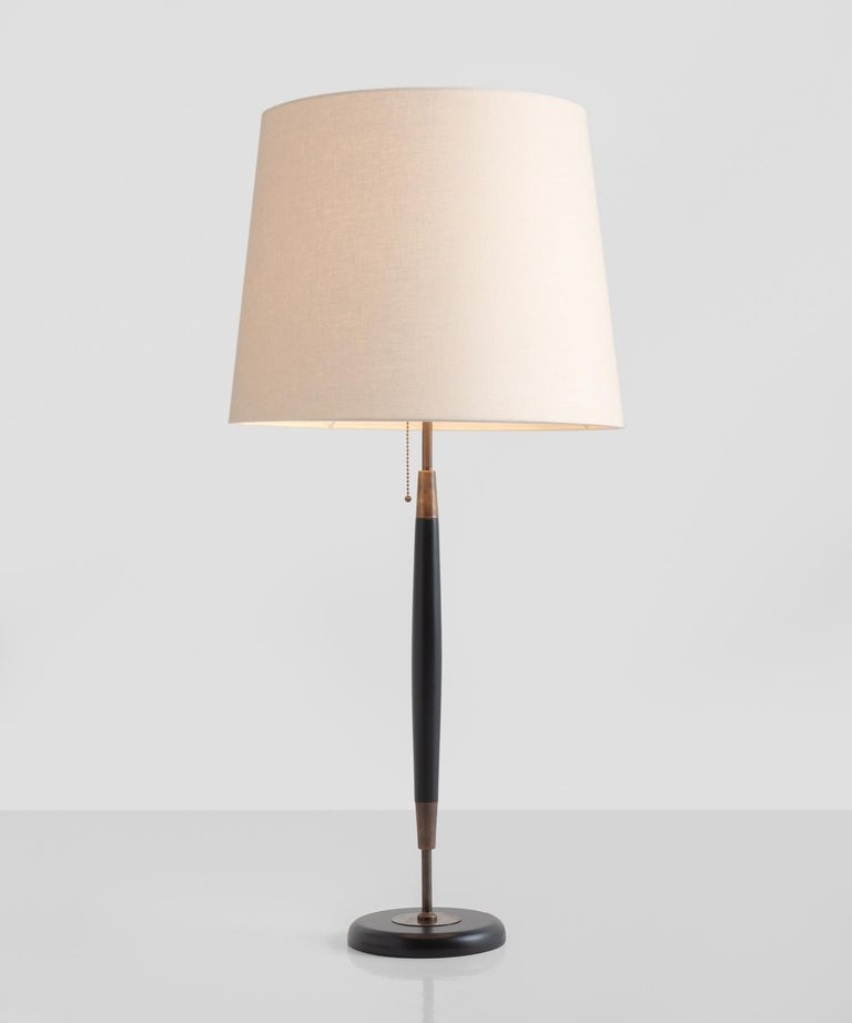 Brass & Wood Table Lamp, Italy, 21st Century  Wood base and stand with brass hardware and linen shade.  Designed in Italy with a 4-week lead time.