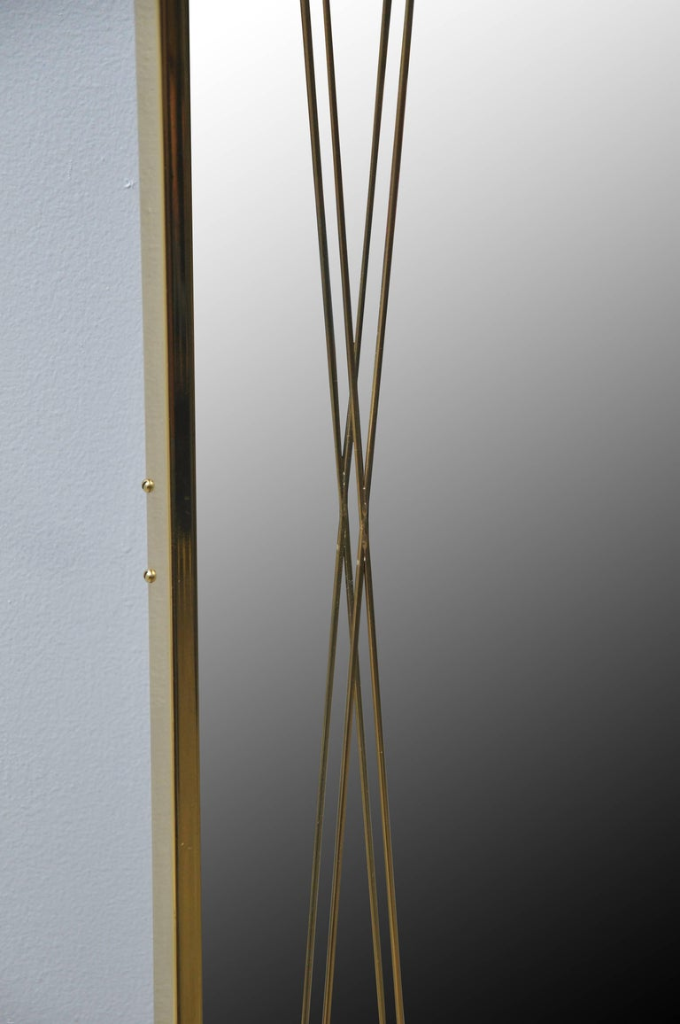 Mid-Century Modern Brass 'X' Mirror by Paul McCobb for Bryce Originals, 1956 For Sale