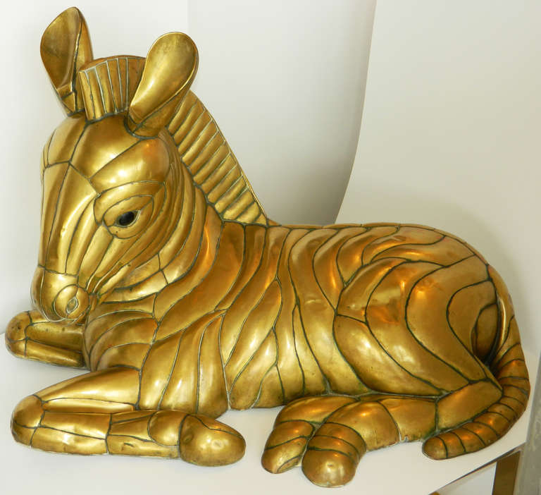 Brass Zebra By Sergio Bustamante, typical of the work of the artist, signed and numbered 11/100.