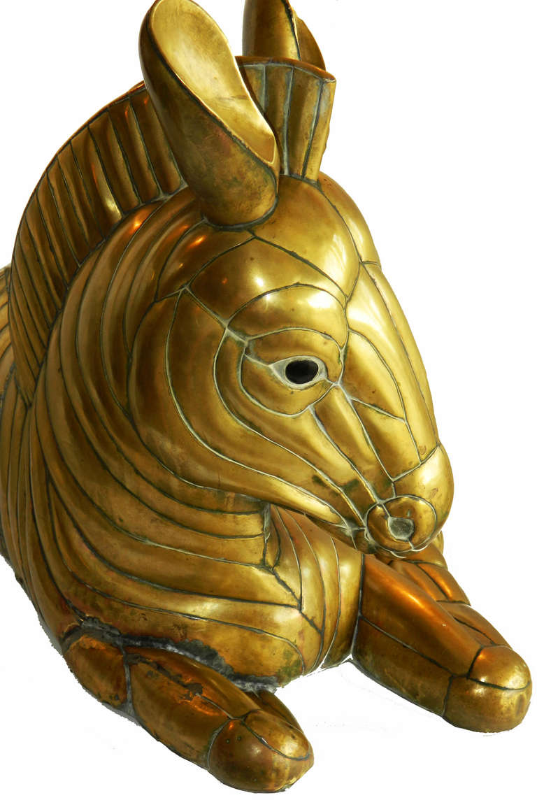 Mexican Brass Zebra by Sergio Bustamante For Sale