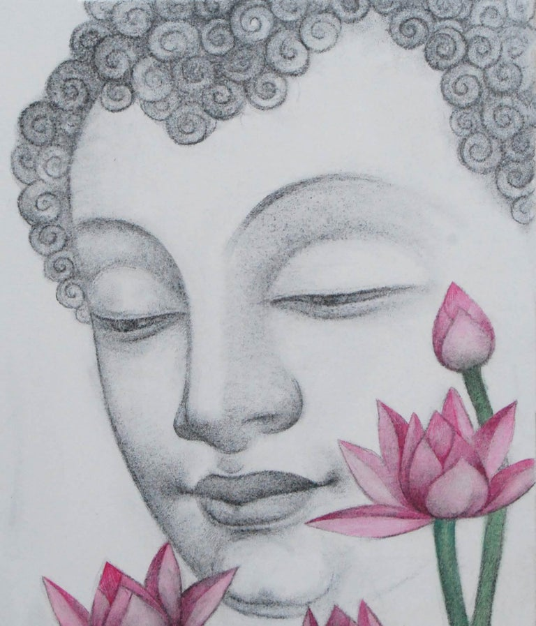 Enlightened, Buddha, Charcoal, Pastel on canvas, Black, Pink, Green