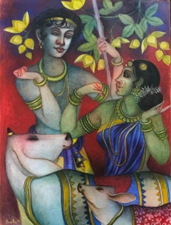 """Jugal, Tempera on Canvas, Green, Yellow, Red, by Contemporary Artist """"In Stock"""""""