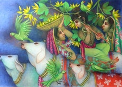 """Krishna playing flute with Cows & Gopis, Tempera, Green, Red, Yellow """"In Stock"""""""
