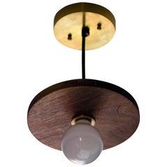 Brayden Circle Walnut and Brass Pendant Light