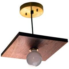 Brayden Square Walnut and Brass Pendant Light