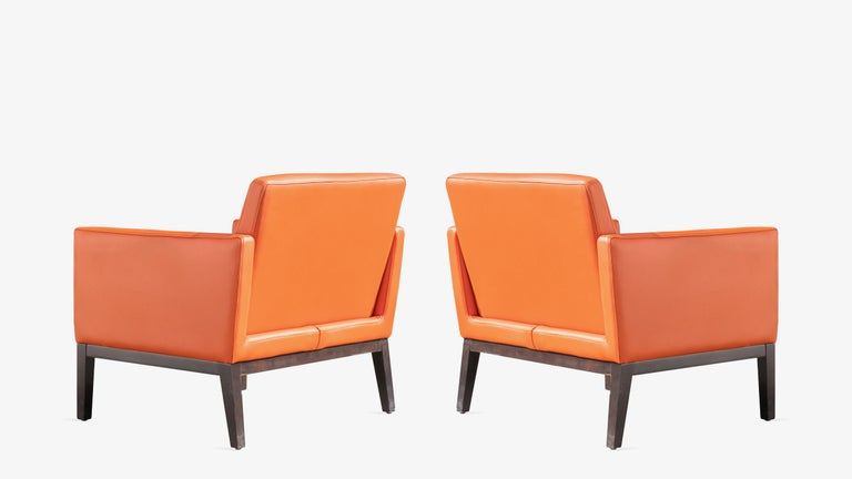 American Brayton International Club Chairs in Orange Leather, Pair For Sale