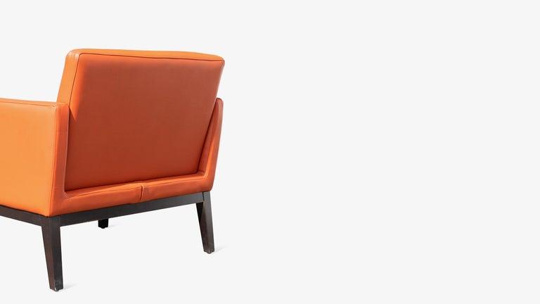 20th Century Brayton International Club Chairs in Orange Leather, Pair For Sale