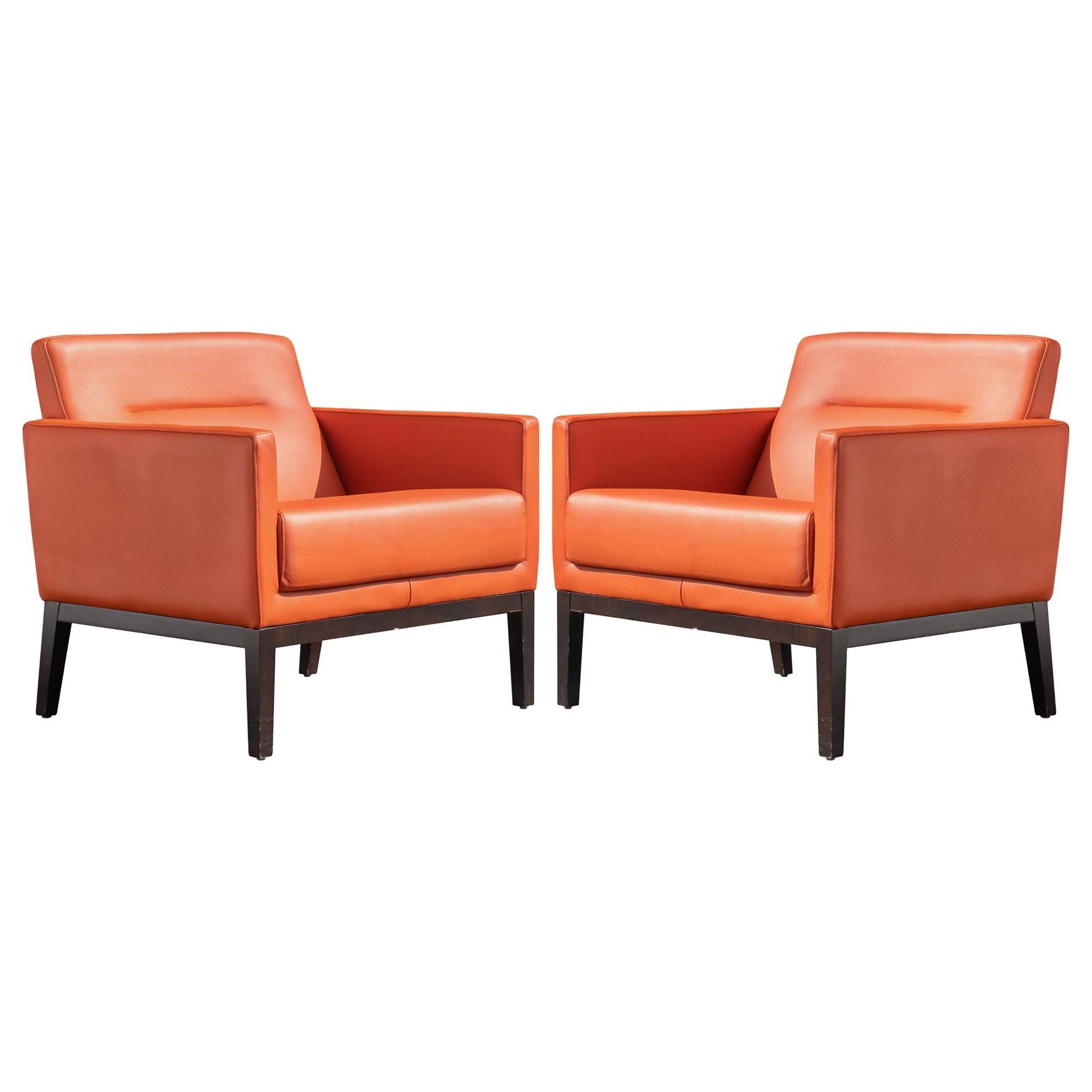 Brayton International Club Chairs in Orange Leather, Pair