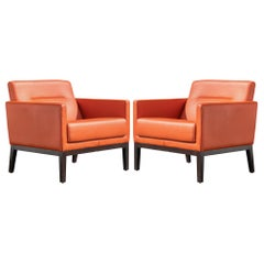 Brayton International Club Chairs in Orange Leather, Pair