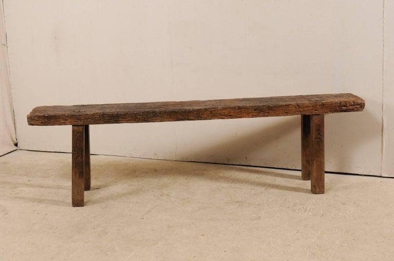 Brazilian 19th Century Rustic Wood Bench Style Sofa Or Window Table