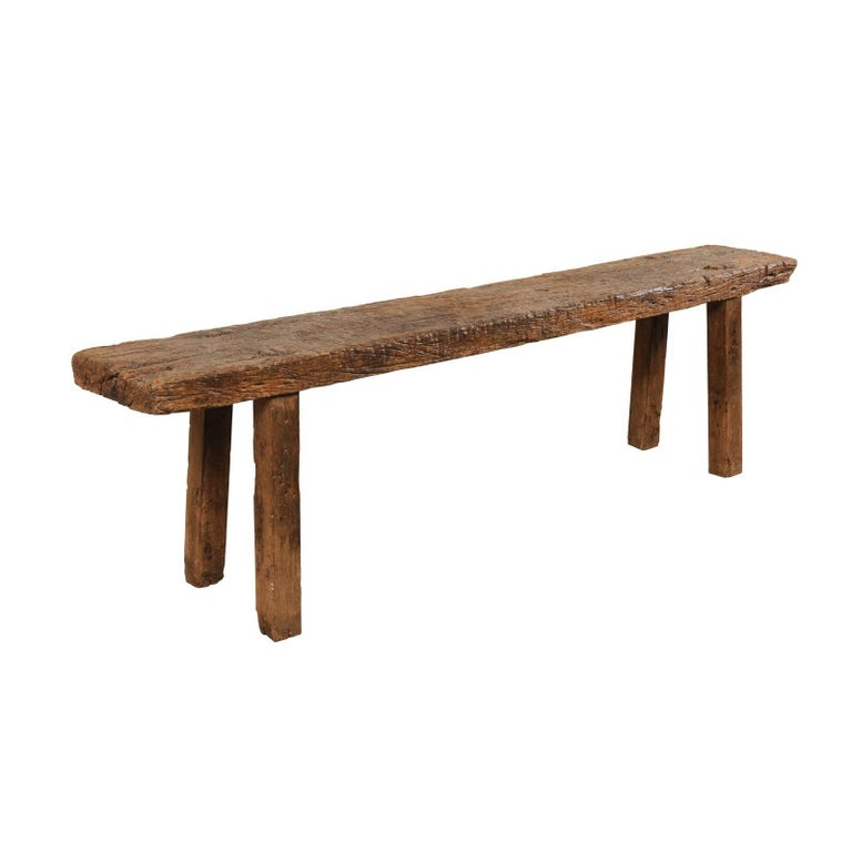 Rustic Sofa Tables For Sale: Brazilian 19th Century Rustic Wood Bench-Style Sofa Or