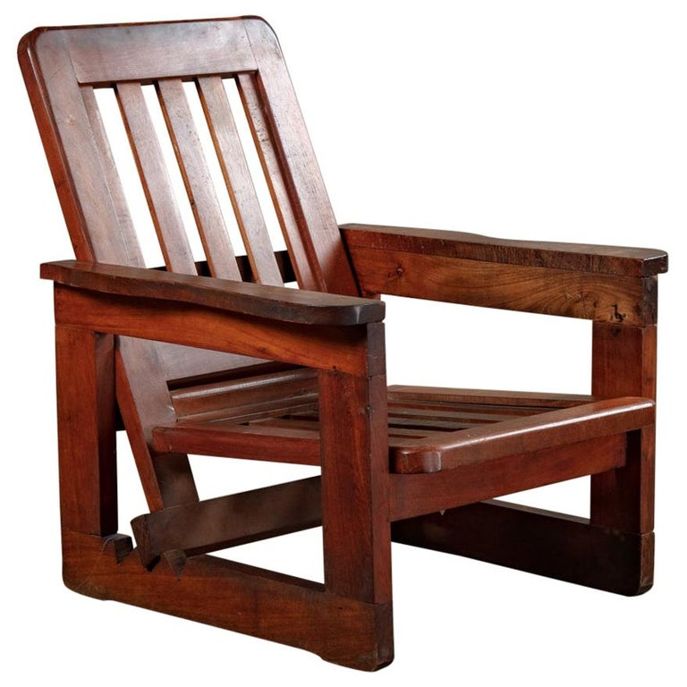 Brazilian adjustable armchair, 1940s, offered by JF Chen