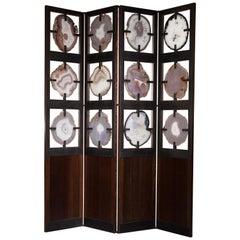 Brazilian Agate and Wenge Wood 4-Panel Screen
