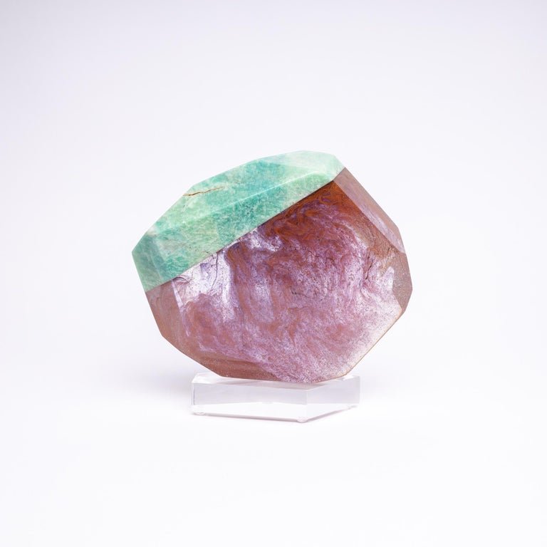 Organic Modern Brazilian Amazonite and Pink Shade Glass Fusion Sculpture on Acrylc Base For Sale