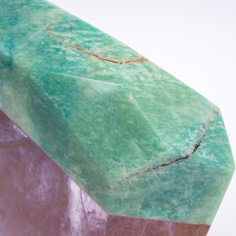 Contemporary Brazilian Amazonite and Pink Shade Glass Fusion Sculpture on Acrylc Base For Sale
