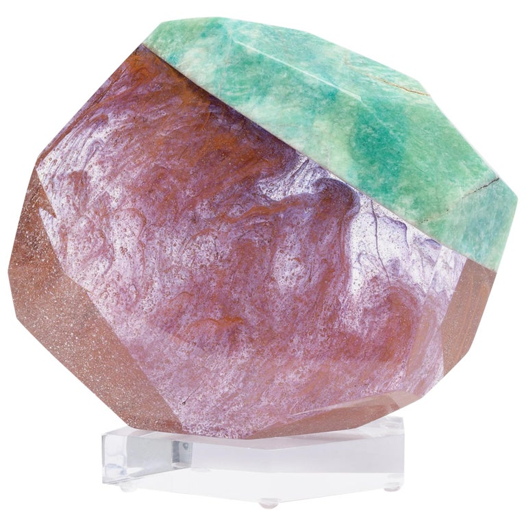 Brazilian Amazonite and Pink Shade Glass Fusion Sculpture on Acrylc Base For Sale