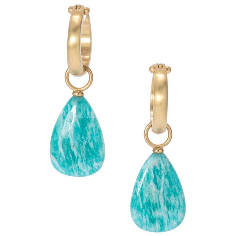 Brazilian Amazonite Drop Earrings in 18 Karat Gold For Sale