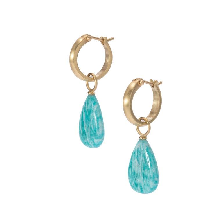Contemporary Brazilian Amazonite Drop Earrings in 18 Karat Gold For Sale