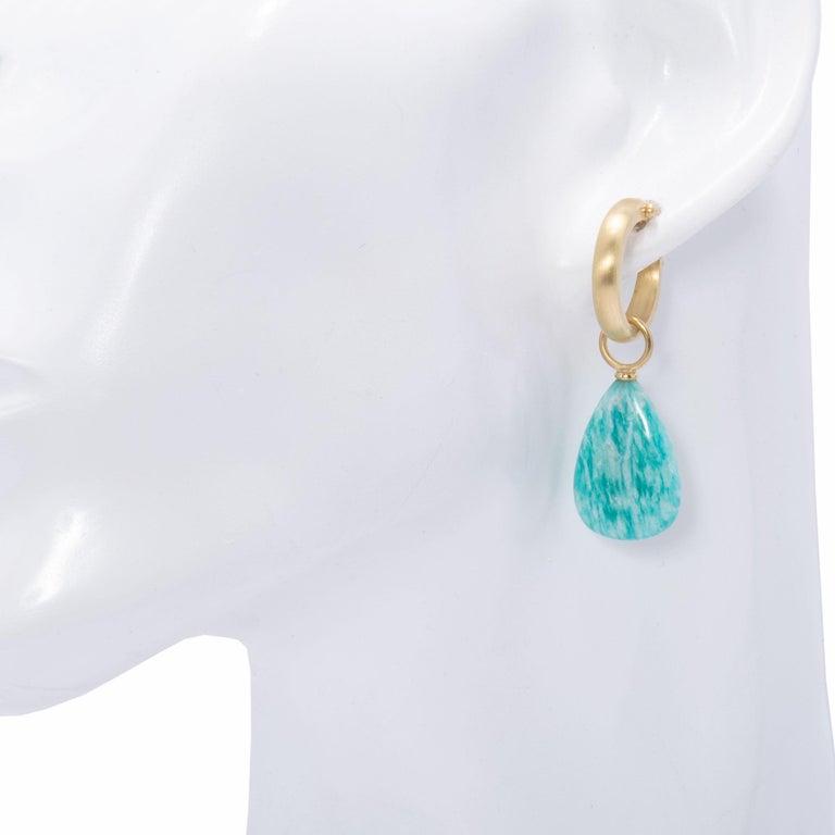 Brazilian Amazonite Drop Earrings in 18 Karat Gold In New Condition For Sale In Santa Fe, NM